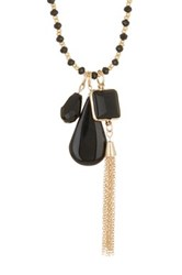 Spring Street Stone And Tassel Charm Beaded Necklace Black
