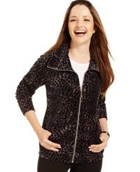 Style And Co. Sport Leopard Print Velour Track Jacket Only At Macy's Sunday Leopard