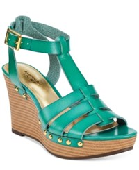 American Living Abaline Platform Wedge Sandals Teal