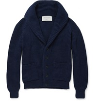 Maison Kitsune Shawl Collar Wool Cardigan Blue