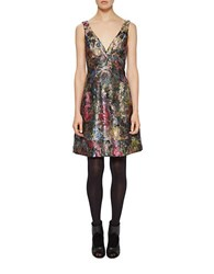 Nicole Miller Floral V Neck Fit And Flare