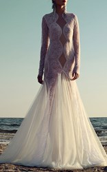 Costarellos Lace And Tulle Trumpet Gown White