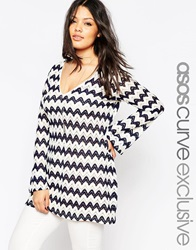 Asos Curve Bell Sleeve Tunic In Chevron Knit Navycream