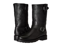 Frye Natalie Mid Engineer Lug Black Waterproof Waxed Pebbled Leather Shearling Women's Pull On Boots