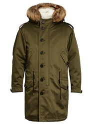 Burberry Shearling Lined Fur Trimmed Parka Green