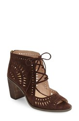 Vince Camuto Women's 'Tarita' Cutout Lace Up Sandal Coffee Grind Suede
