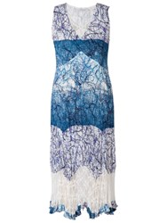 Chesca Scribble Print Dress Ivory Blue