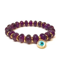 Eye Of The Sea Evil Eye Charm Bracelet Purple