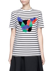 Etre Cecile Collage Dog Face Print Stripe T Shirt Multi Colour
