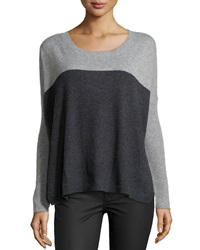Central Park West Cashmere Colorblock Knit Sweater Charcoal Gray