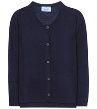 Prada Virgin Wool Cardigan Blue
