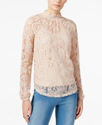 Bar Iii Mock Neck Lace Top Only At Macy's Ballet Pink