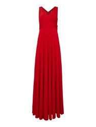 Biba Deep V Full Skirted Maxi Red