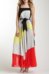 Gracia Accordion Pleated Colorblock Maxi Dress Red