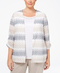 Alfred Dunner Plus Size Acadia Collection Chevron Layered Look Top Multi