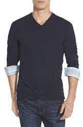 Maceoo Trim Fit Long Sleeve V Neck T Shirt Navy Blue