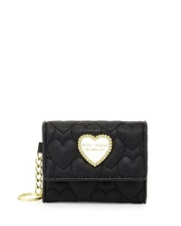 Betsey Johnson Quilted Key Chain Coin Purse Black White