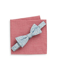 Original Penguin Floral Bow Tie And Micro Gingham Pocket Square