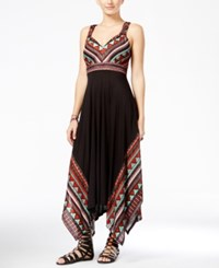 American Rag Juniors' Printed Handkerchief Hem Maxi Dress Only At Macy's Classic Black