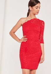 Missguided Lace One Shoulder Bodycon Dress Red Red