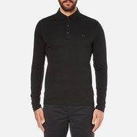 Michael Kors Men's Long Sleeve Sleek Mk Polo Top Black