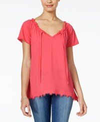 Self Esteem Juniors' Flutter Sleeve Peasant Top Sunkist Coral