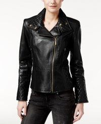 Calvin Klein Leather Quilted Moto Jacket Black