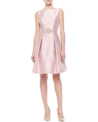 Theia Satin Party Dress With Beaded Belt Blush