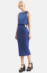 Topshop Sleeveless Cutout Midi Dress Nordstrom Exclusive Navy Blue