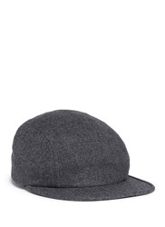 Maison Kitsune Fox Logo Embroidered Wool Blend Cap Grey