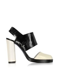 Jil Sander Black And Cream High Heel Slingback