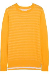 Michael Michael Kors Layered Striped Cotton Sweater Yellow