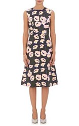 Marni Women's Floral Cotton A Line Dress Dark Green