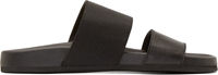 Helmut Lang Black Waxed Leather Beach Slide Sandals