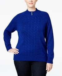 Karen Scott Plus Size Cable Knit Mock Neck Sweater Only At Macy's Bright Blue Marl