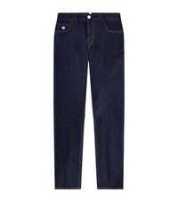Stefano Ricci Clean Eagle Embroidered Slim Straight Jeans Male Dark Blue