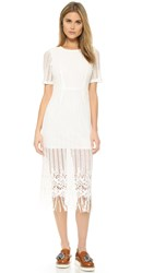 J.O.A. Crochet Midi Dress White