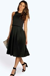 Boohoo Double Layer Midi Length Skater Dress Black