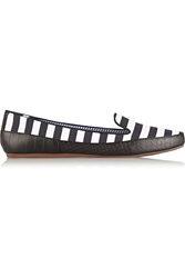 Charles Philip Shanghai Gaby Striped Cotton Loafers Black