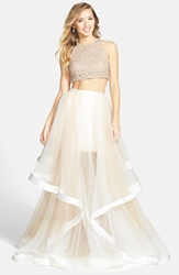 Terani Couture Beaded Top And Organza Two Piece Ballgown White Nude