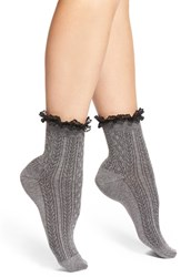 Women's Nordstrom 'Short And Sweet' Ruffle Anklets Charcoal