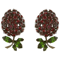 Eclectica Vintage 1950S Schriener Of New York Chrome Plated Raspberry Clip On Earrings Red Green