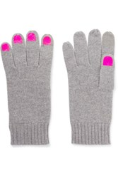 Marc By Marc Jacobs Wild Thing Foiled Merino Wool Gloves Gray