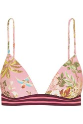 Zimmermann Tropicale Floral Print Triangle Bikini Top Baby Pink