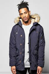 Boohoo Pocket Faux Fur Hooded Parka Navy