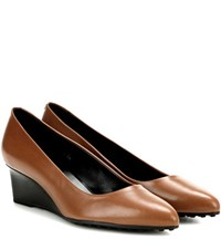 Tod's Leather Wedge Pumps Brown
