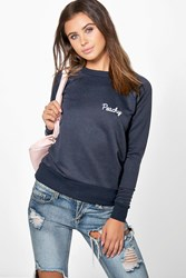 Boohoo Bonnie Peachy Slogan Sweat Navy