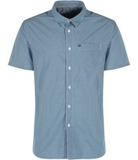 Bench Rapson Pattern Classic Fit Short Sleeve Shirt Mid Blue
