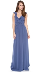 Joanna August Lacey Ruffle Wrap Dress Blue Moon