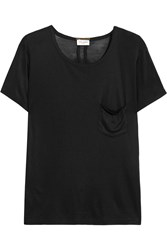 Saint Laurent Silk Jersey T Shirt Black